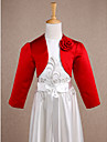 Kids\' Wraps Shrugs Long Sleeve Satin Red Wedding / Party/Evening Wide collar Flower(s) Open Front