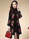 Femei Palton Ieșire / Plus Size Chinoiserie,Floral / Brodată Manșon Lung Primăvară / Toamnă Rotund-Negru Mediu Bumbac / Poliester