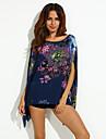 Femei Rotund Bluză Plus Size,Floral Manșon scurt Vară-Albastru Subțire Poliester