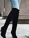 Homme-Exterieure Bureau & Travail Decontracte-Noir Bleu Marron Blanc Gris-Talon Aiguille-Bottes a la Mode-Bottes-Similicuir
