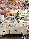 Blom Påslakan Sets 4 delar Bomull Mönster Reaktiv Print Bomull Dubbel 1st Påslakan / 2st Shams / 1st Underlakan