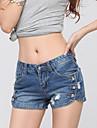 Damă Drept Șic Stradă Simplu Talie Medie,Micro-elastic Blugi Pantaloni Scurți Pantaloni Mată