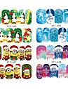 16pcs/uppsättning nagel konst Sticker Halvnageltoppar / Helnageltoppar / Vatten Transfer Dekaler / Nagelsmycken Tecknat / Vackert skönhet Kosmetisk