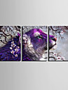 Djur / fantasi Canvastryck Tre paneler Redo att hänga , Vertikal