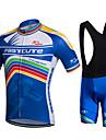 fastcute Maillot et Cuissard a Bretelles de Cyclisme Homme Manches courtes VeloCuissard a bretelles Cuissard / Short Chemise Shirt