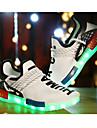 Pojkar Sneakers Höst Komfort Tända upp Skor Tyll Sport Platt klack Övrigt LED Svart Vit