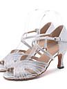 Chaussures de danse(Vert Rose Argent Or) -Personnalisables-Talon Bobine-Paillette Brillante-Latine Jazz Moderne Chaussures de Swing