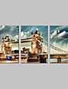 sträckt kanfas konst london bridge uppsättning av 3