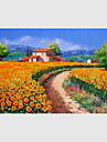 Peint a la main Paysage / A fleurs/Botanique / Paysages Abstraits Peintures a l\'huile,Modern / Pastoral / Style europeen Un Panneau Toile