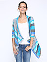 Nikki Women\'s Striped Blue / Red Coats & Jackets , Casual / Party V-Neck ¾ Sleeve
