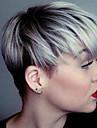 vacker rak kort Capless peruker människohår blandade färger 10 inchs