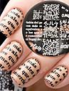 nyfödda ganska bp76 alfabetet tema nagel konst stämpling mallbildplattan
