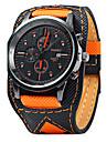 Bărbați Ceas de Mână Quartz Calendar / Piele Bandă Cool Casual Negru Orange Portocaliu Negru/Alb