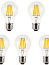 8W E26/E27 Ampoules a Filament LED A60(A19) 8 COB 800 lm Blanc Chaud Blanc Froid Decorative AC 85-265 V 5 pieces