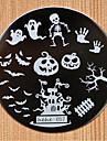 halloween design runda rostfritt stål spikplåtar nail art bild