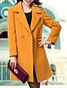 Dame Palton Plus SizeMată Manșon Lung Iarnă Asimetric-Albastru / Negru / Galben Mediu Altele