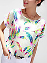 Women\'s Chiffon Batwing Sleeve Floral Print Tops Blouse T-Shirt Plus Size