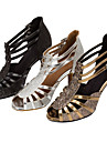 Chaussures de danse(Noir / Argent / Or) -Personnalisables-Talon Personnalise-Similicuir / Paillette Brillante-Latine / Salsa