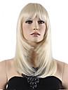 haut grade bas prix blond longue ligne droite du milieu avec Bang complet perruque synthetique vente chaude.