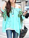 Femei În X Bluză Casul/Zilnic Simplu(ă) / Boho,Imprimeu ¾ Manșon Vară-Alb / Bej / Negru / Verde Subțire