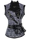 Burvogue Women\'s Retro PU Grey Steampunk Corset Zip 12 Steel Boned Bustier Overbust Corset Tops