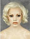 imstyle 10fahion court melange blonds boucles synthetiques perruque de cheveux avant de dentelle de drag queen