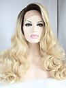 sylvia dentelle synthetique avant perruque racines noires cheveux blonds chaleur cheveux ombre resistant longue vague naturelle perruques