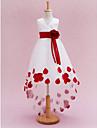 Princess Chapel Train Flower Girl Dress - Satin / Tulle Sleeveless V-neck with