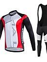 MALCIKLO® Maillot et Cuissard Long a Bretelles de Cyclisme Homme Manches longues VeloRespirable Sechage rapide Zip frontal Vestimentaire
