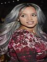 mode longs ondules ombre de cheveux gris et couleur perruques synthetiques rose pale pour les femmes