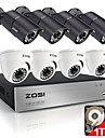 Zosi ® 8ch 720p hdmi dvr integre 1tb hdd 8pcs 1.0MP camera de securite systeme kit