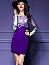 Dame Plus Size Șic Stradă Bodycon Rochie-Bloc Culoare ¾ Manșon Rotund Sub Genunchi Violet Poliester Toamnă / Iarnă Talie Medie