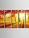 Stretchad Kanvastryck Landskap BotaniskFem paneler Vertikal väggdekor For Hem-dekoration