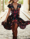 Swing Robe Femme Sortie / Plage Vintage,Fleur V Profond Maxi Manches Courtes Noir Polyester Ete / Automne Taille Normale Micro-elastique