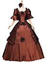 Une Piece/Robes Gothique Doux Lolita Classique/Traditionnelle Punk Steampunk® Victorien Cosplay Vetrements Lolita Marron Fleur Manches 3/4