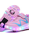 Fille-Exterieure Decontracte Sport-Bleu Rose-Talon Bas-Confort Light Up Chaussures-Baskets-Cuir