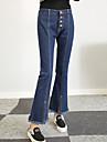 Dame Mărime Plus Size Bootcut Blugi Pantaloni,Ciucure Simplu / Șic Stradă Solid Ieșire / Casul/Zilnic Talie Medie Buton Bumbac Inelastic