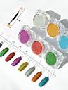 6pcs / set poudre miroir miroir aurora galvanoplastie poudre d\'argent laser colore couleur paillettes de metal de manucure