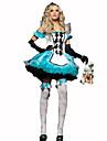 Piguniform Festival/Högtid Halloween Kostymer Vit / Blå Enfärgat / Skotskrutigt Klänning / HuvudbonadHalloween / Jul / Karnival /