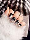 24pcs super lumineux noir paillettes d\'argent clou haut de gamme paragraphe casser faux ongles dans le patch de longue colle a ongles