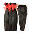 6a non transformes cheveux bresiliens vierges droite avec fermeture 3 faisceaux avec fermeture 4 * 4 de dentelle tissage de cheveux