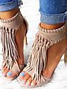 Dame Sandale Primăvară Vară Toamnă Imitație de Piele Casual Party & Seară Toc Stiletto Franjuri Negru Migdală