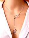 Colliers Tendance Pendentif de collier Bijoux Soiree Quotidien Decontracte Forme de Feuille Ajustable Alliage Plaque argent Femme Filles