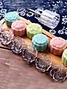 7pcs / lot acrilic mână apăsând 50g tort luna rundă de curea de mucegai 6 timbre cookie cutter patiserie luna matrite tort
