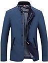 Bărbați Jachetă Casul/Zilnic / Plus Size Vintage / Simplu(ă),Bloc Culoare Manșon Lung Primăvară / Iarnă Stand-Albastru / Bej MediuBumbac