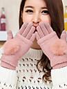 Women\'s Mittens Rabbit Fur Lamb Fur Fingertips Wrist Length Cute Winter Gloves