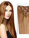 verklig klämma i mänskliga hårförlängningar Inslag fullt huvud silkeslen rakt remy väva 7st eller 8st flerfärgs för vackra kvinnor