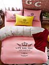 bedtoppings 4buc set regina 1 mângâietor carpetă pilota capac / 1 plat foaie / 1 solid de culoare cu perna printuri microfibră poli