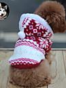 Katter / Hundar Huvtröjor Röd / Brun Hundkläder Vinter Snöflinga Håller värmen