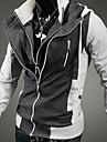 Bărbați Ieșire / Casul/Zilnic / Sporturi Activ Regular Hoodies-Bloc Culoare Negru / Gri Manșon Lung Capișon Bumbac Primăvară / Iarnă Mediu
